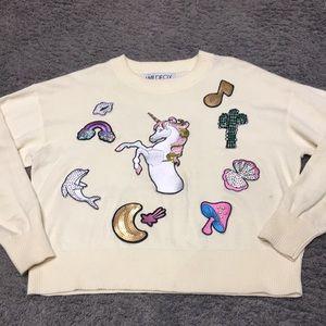 Wildfox sweater XS unicorn patches